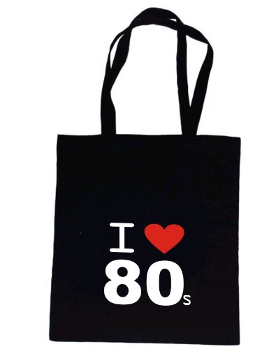 I Love 80's Black Tote Bag from Rhino and Mugsy. Natural cotton with superior quality print.