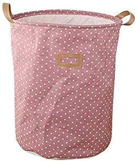 MJY Panier à linge, boîte de rangement en tissu de coton rose à pois Organisateurs de paniers à linge pliables à pois plia...