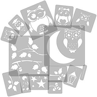 14 Pochoirs En Plastique Réutilisable // Hibou   Chouette   Lune   Branche  //
