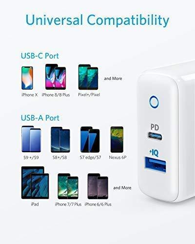 Anker USB C Ladegerät, PowerPort PD 2 Wandladegerät 30W Dual Port mit 18W Power Delivery für iphone 11/11 Pro/11 Pro max/XS Max/XR/XS/X/ 8,iPad Pro 2018 und mit 12W PowerIQ für Samsung S9/S9+/S8 usw.