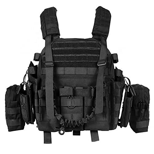 WolfWarriorX Tactical Vest Military Assault Swat Molle Vest Adjustable Lightweight Combat Training Vest for Man Women Youth (Black)