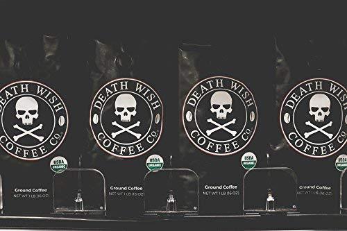 Death Wish Café Moulu Bio Fin, Le Café le Plus Fort au Monde 200% de Cafféine en Plus, Produit...