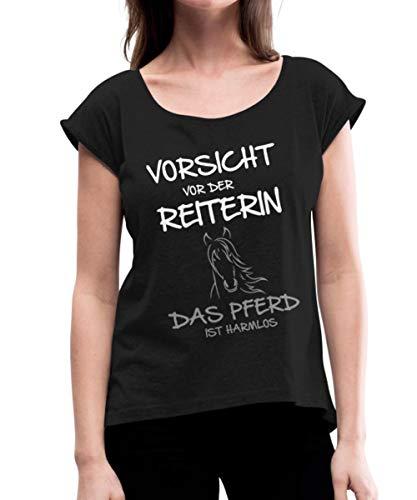 Vorsicht Vor Der Reiterin Pferd Ist Harmlos Frauen T-Shirt mit gerollten Ärmeln, XL, Schwarz