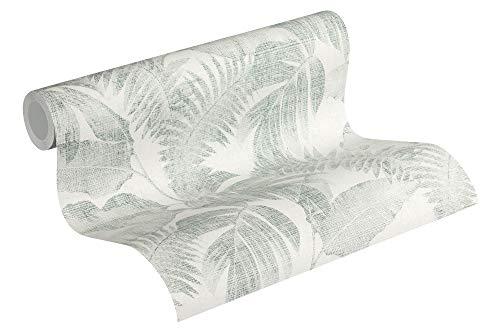 Livingwalls papier peint intissé New Walls Cosy & Relax papier peint effet jungle papier peint palmier 10,05 m x 0,53 m crème beige vert 373964 37396-4