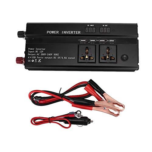 Nannday Auto-Wechselrichter, Fahrzeugadapter 4000W DC 12V zu AC 220V LCD-Anzeige Auto-Rein-Sinus-Wechselrichter-Wandler