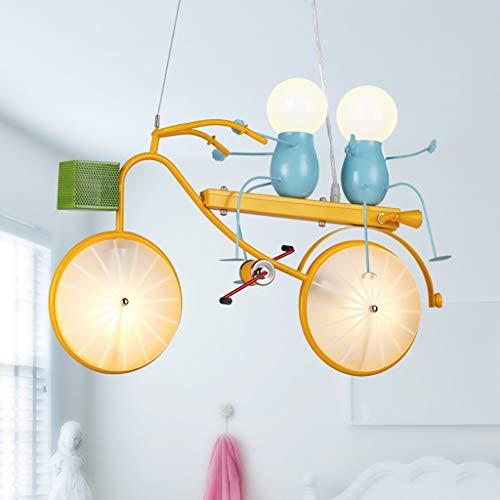 Lampadari Bicicletta lampadario cartone animato plafoniera LED giallo lampadario bicicletta lampada da letto bambino in camera lampada della stanza dei bambini di vetro paralume, camera da letto creat