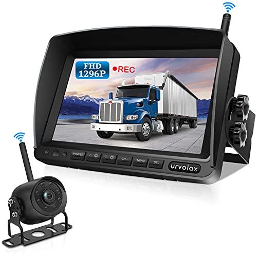URVOLAX Rückfahrkamera Kabellos,Videoaufzeichnung,7 Zoll Monitor 1296P FHD IPS Bildschirm IP69K Wasserdichte Auto Rückfahrkamera,Verbessertes Signal,170° Weitwinkel Nachtsicht,LKW Lieferwagen Anhänger
