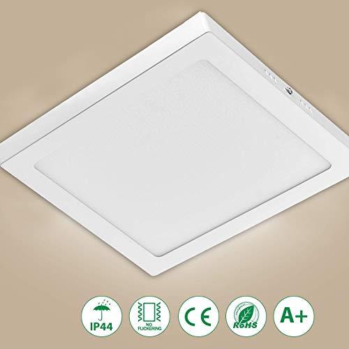 FreedomT LED Deckenlampe 3000K Warmweiß, 6W 480 Lumen 13.5x 13.5cm IP44 Wasserdicht LED Deckenlampe LED Aufbauleuchte für Innenräume, Wohnzimmer, Schlafzimmer, Badezimmer [Energieklasse A+]