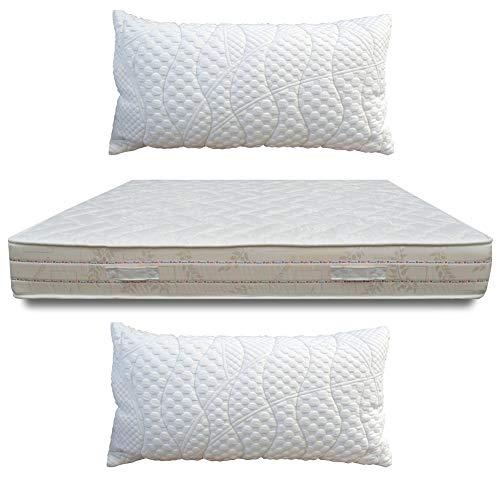 Perfetto Lux - Colchón de 23 cm de altura, ortopédico, anatómico de Airpur® y espuma viscoelástica para cama de matrimonio de 160 x 190 cm + 2 almohadas de copos de memoria