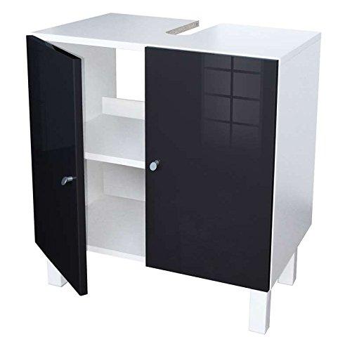 Berlioz Creations Msl Black Waschtischunterschrank, 60 x 65 x 42 cm, 2 Türen und Ausschnitt für Siphon