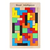 Tetris del Juguete Madera,Puzle de Madera 40 Unidades Rompecabezas Madera Colorido Bloques Geométricos Juego Educativo para Niños Mejor Regalo Educativo Temprano