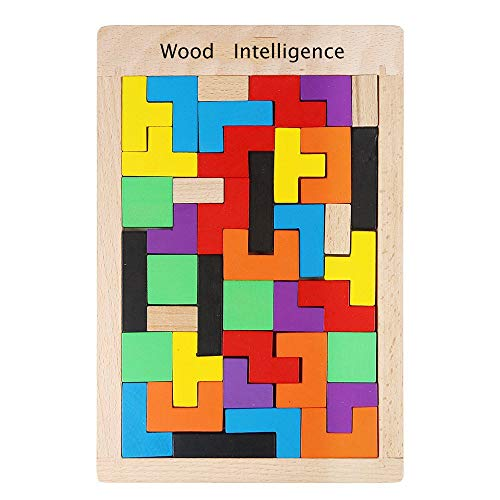 Puzzle di Legno Tetris,40 Pack Tangram in Legno Colorato Blocchi Geometrici Tetris Intelligenza Tangram Jigsaw Tetris per Bambini Primi Educativi Miglior Regalo