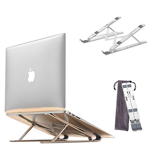 "Soporte Ordenador portátil, Ajustables Soporte Portátil, Laptop Stand Aluminio Ventilado Plegable para10-17"" Notebook/MacBook Pro/MacBook Air/iPad Laptop (Gris)"
