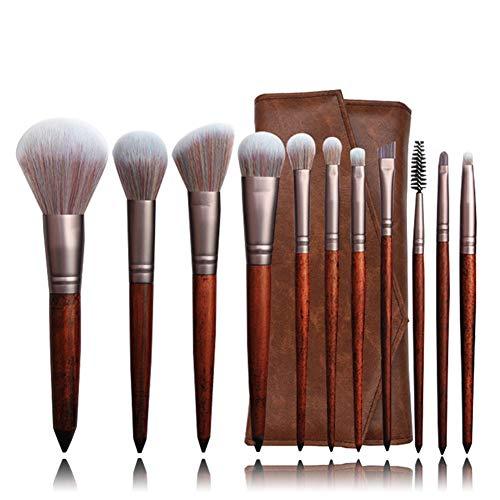 Ensemble de la brosse, 11 pinceau de maquillage de haute qualité pour le rouge à lèvres de fard à paupières blush base sourcils anticernes mélangé avec un sac de rangement en cuir PU