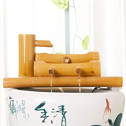 Fuente de bambú Característica de agua Fuente de agua de jardín de bambú hecha a mano Interior exterior Estanque Decoración Fuente Bomba Filtro Cubo Esculturas Estatuas Decoración del hogar Artes Art