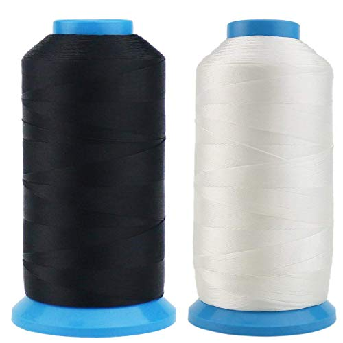 TIHOOD 1500 Yard Size T70 #69 Bonded Nylon Sewing Thread for Weaves (Black and White)