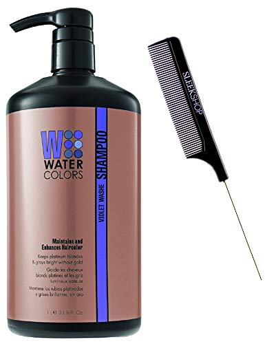 Watercolors Color Depositing Sulfate-Free Shampoo, Maintains & Enhances Haircolor (w/ Sleek Steel Pin Rat Tail Comb) Water Colors Hair Dye Maintenance Wash (Violet Washe - 33.8 oz LARGE LITER)