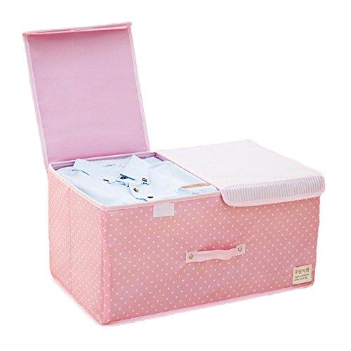 iTemer Große Oxford Aufbewahrungsboxen, faltbar, doppelte Abdeckung, Aufbewahrungsbox, Heimaufbewahrung für Unterwäsche, Spielzeug, Rosa