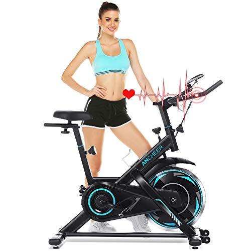 ANCHEER Bici da Spinning Cyclette con Volantino di Inerzia 18 kg Display LCD, Sensore di Impuls, Collega con l'App Manubrio e Sella Regolabili, Portata Massima 120 kg