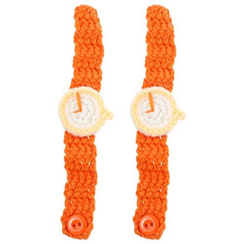 VALICLUD 2 Unids Tejido Pulsera Reloj Pulsera Hilo de Lana Tejido Joyería Pulsera Tejida a Mano Artesanía Niños Navidad Goody Bolsa de Relleno Naranja