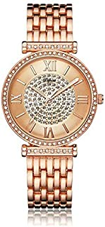 Ladies Rhinestone Watch Analog Watch with Rose Gold Stainless Steel Watchband