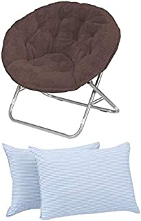 Urban Shop Faux Fur Saucer Chair with Metal Frame, One Size, Black (Brown)
