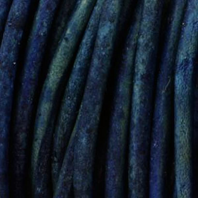 1.5mm Indian Leather Round Beading Jewelry and Craft Cord 25 Yards Nat Dyed Blue- 1.5mm Thick