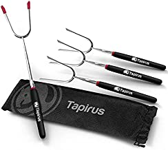 Tapirus Marshmallow Roasting Sticks – Set of 4 Telescoping Campfire Sticks - Protect Kids with Insulated Handle Holders – Extendable, Retractable and Collapsing – Heavy Duty Metal Camping Equipment