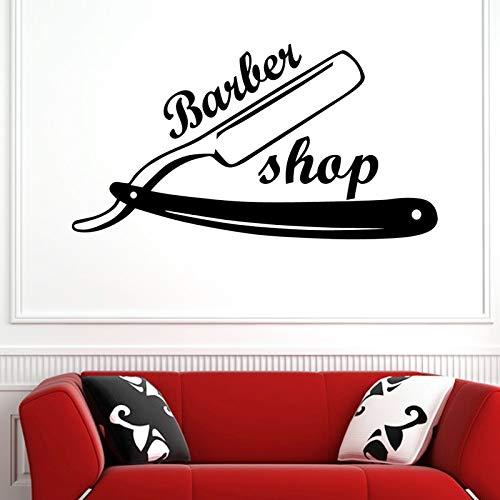 fancjj Homme Razor Barber Shop Autocollant Nom Chop Pain Decal Coupe De Cheveux Rasoirs Posters Vinyle Mur Art Stickers Décor Windows 31X58CM