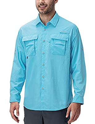 Naviskin Men's UPF 50+ Sun Protection Fishing Shirt Long Sleeve Quick Drying Lightweight Hiking Shirt Cooling Blue Size L