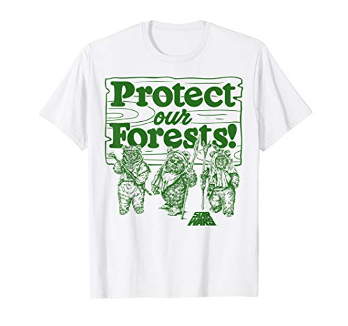Star Wars Ewok Protect Our Forests Text T-Shirt