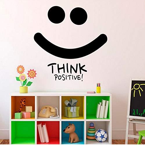 ACEYCYS Denke positiv Lächeln Wandtattoo Motivation Zitate Inspiration Wandaufkleber Home Decor Schlafzimmer Abnehmbare Büro Kunst Aufkleber 56x57 cm