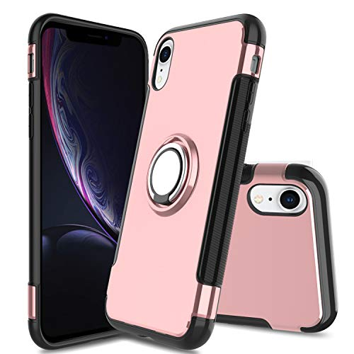 Innens Compatible with iPhone Xs Max Case, iPhone Xs Plus case, Full Matte Soft Touch Slim-Fit Flexible TPU Shock-Absorption Phone Protective Cover Case with Rotating Ring Holder Stand (Pink)