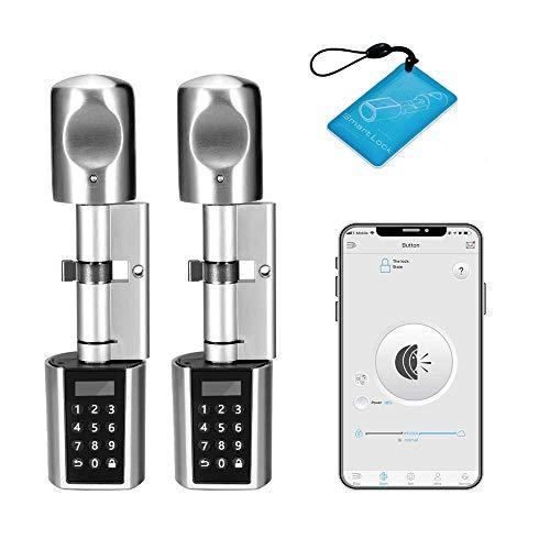 WE.LOCK Cerradura electrónica de dos cerraduras de embalaje de contraseña y Bluetooth Smart Door Lock Cilindro con 10 tarjetas RFID, funda a prueba de agua