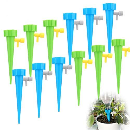Sporgo Automatisch Bewässerung Set,12 Stück Automatische Pflanzen Bewässerungssystem Einstellbar mit Steuerventilschalter,Pflanzen Blumen Bewässerung für Topfpflanzen Garten Pflanzen Zimmerpflanze