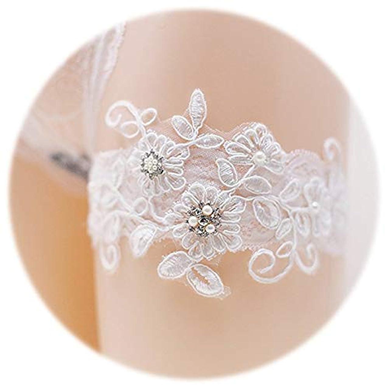 村示す独立して2個の結婚式のブライダルロマンチックな結婚式のレースのガーター手作りのラインストーンレースの真珠の花のガーター (白)