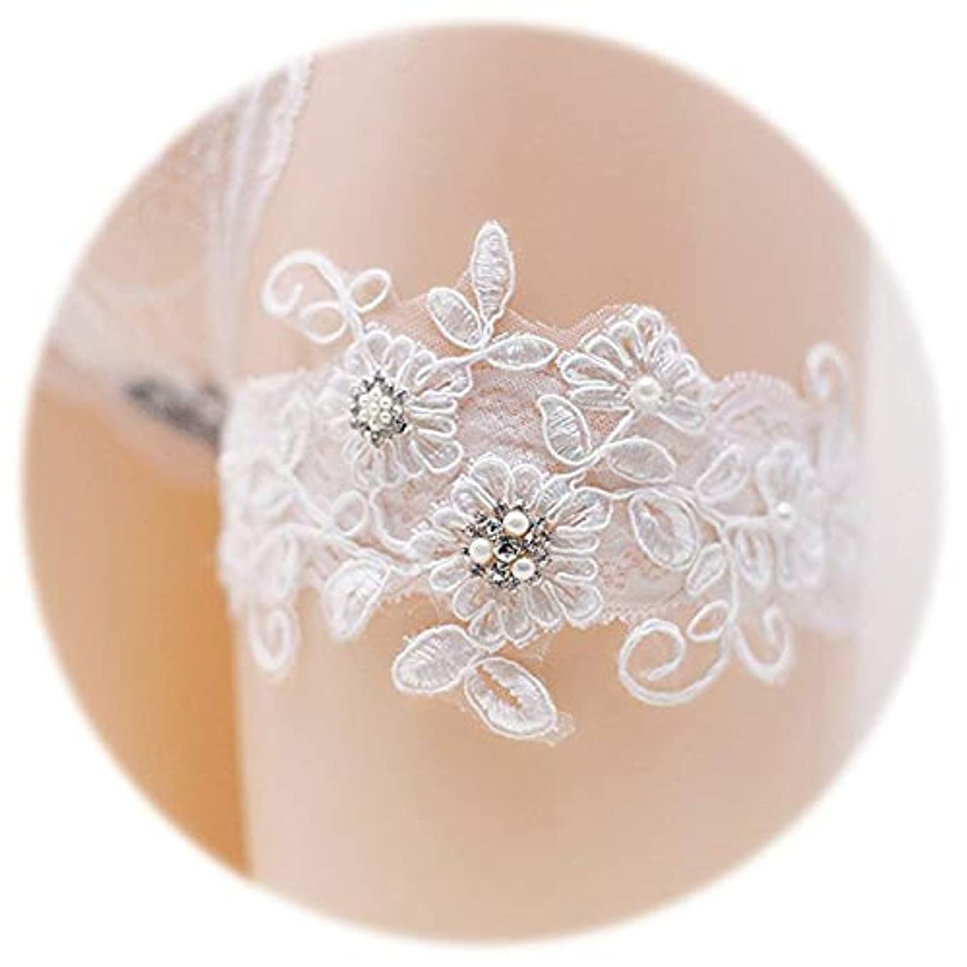 歩く仮説スチュアート島2個の結婚式のブライダルロマンチックな結婚式のレースのガーター手作りのラインストーンレースの真珠の花のガーター (白)