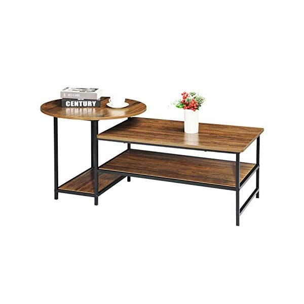 WOHOMO Coffee Table with Storage Round Coffee Table and Rectangular Sofa Table 2...