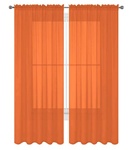 "Luxury Discounts 2 PC Solid Rod Pocket Sheer Window Curtain Treatment Drape Voile Panels in Variety of Colors (55""x84"", Orange)"