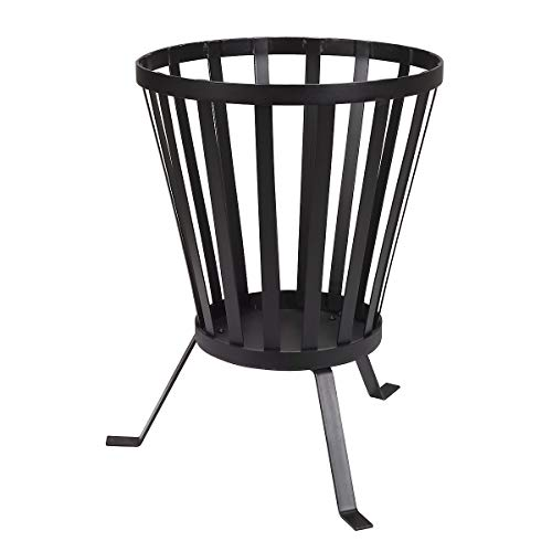 Clas Ohlson Wrought Iron Fire Pit - Outdoor Garden Patio Heater Brazier Basket for Wood, Daim 37 cm