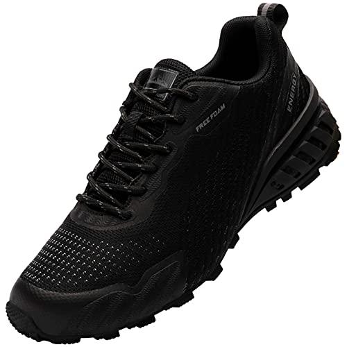 MHXDU Zapatillas de Deporte para Hombre Zapatillas de Trail Ligeras Zapatillas Deportivas Antideslizantes Transpirables Zapatillas Deportivas al Aire Libre(42 Negro)