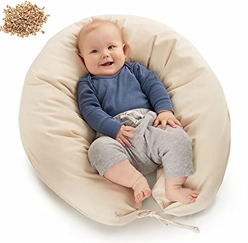 be Mama! BIOLAND - Cojín para dormir de lado (190 cm de largo, funda extraíble), color crema