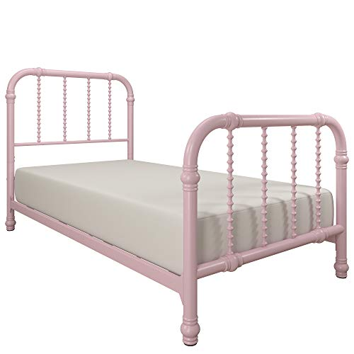 DHP Jenny Lind Metal Twin Bed Frame in Pink