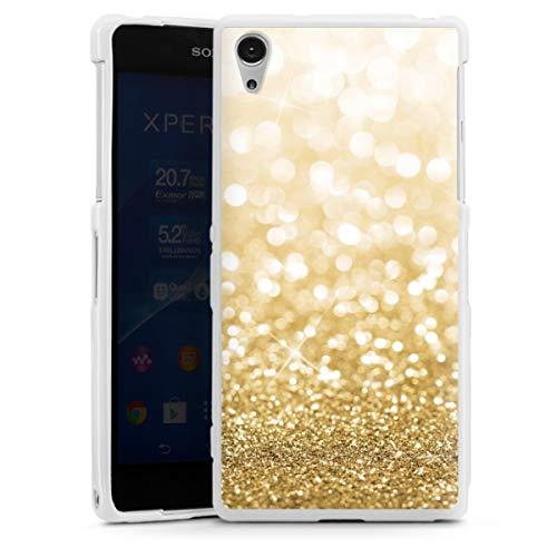 DeinDesign Silikon Hülle kompatibel mit Sony Xperia Z2 Hülle weiß Handyhülle Glitzer Erscheinungsbild Gold Staub