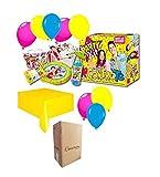 Zeus Party Me Contro Te él y tu socio juego para cumpleaños infantiles, decoración de mesa que contiene: 10 platos, 10 vasos, 20 servilletas, 1 guirnalda, 1 vela; 1 Paty Pop, 1 mantel con 30 globos