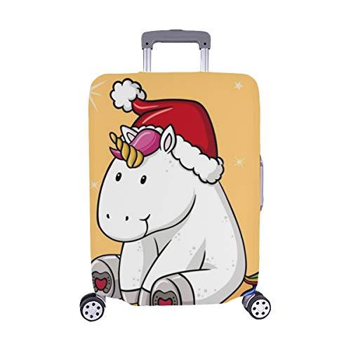 (Solo il parapolvere del bagaglio)cute natale fumetto unicorno schema spandex trolley caso viaggiare bagaglio 28,5 x 20,5 cm copertura protettore valigia