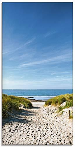 Artland Glasbilder Wandbild Glas Bild einteilig 30x60 cm Hochformat Strand Meer Küste Nordsee Sand Dünen Natur Landschaft Maritim T9EX