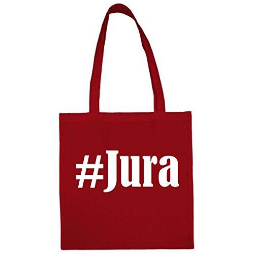 Tasche #Jura Größe 38x42 Farbe Rot Druck Weiss