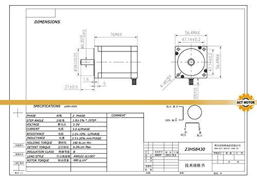 Schrittmotor Nema 23 270 oz-in 4A 8mm shaft Stepper Motor Flat Shaft CNC