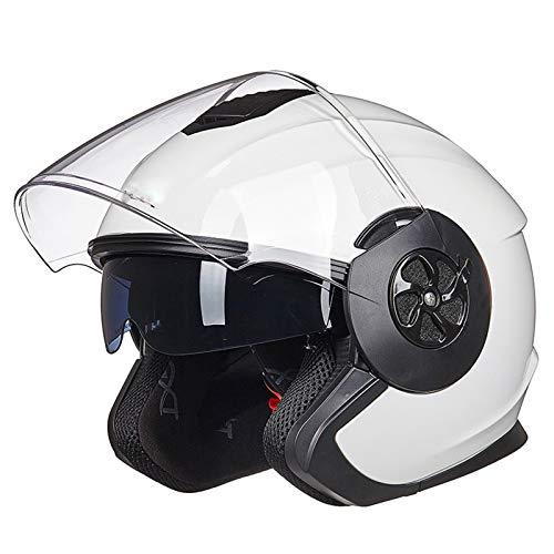 GAOZ Casco Moto ECE Homologado Eléctrico De Casco De Hombres Y Mujeres La Protección Verano Cuatro Estaciones Medio Montar Universales Abierto Scooter Medio para Adultos con Visera